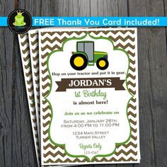Tractor Birthday Invitation  FREE Thank You by ForeverYourPrints, $12.00 @Shayna Telesmanic Larson cute for Collin!?