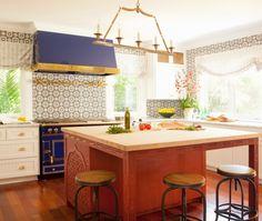 Eclectic Island Style Grey kitchen, white cabinets, Taylor Borsari,