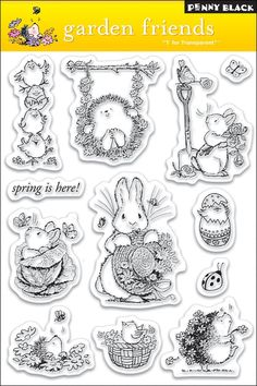Amazon.com: Penny Black Clear Stamp Set, Garden Friends: Arts, Crafts & Sewing