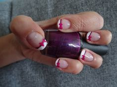 French with bow Used : OPI Funny Bunny  OPI Black Cherry Chutney OPI Pink Flamenco OPI Start to Finish