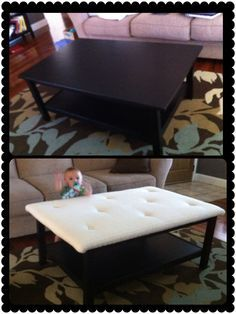 Baby Proof! Upholstered Coffee Table ;) Followed This Blog  Http://newlywedmcgees.blogspot.com/2012/08/diy Upholstered Ottoman.html?mu003d1
