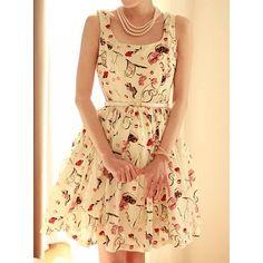 Promithi New Floral Chiffon Dress Sleeveless Dress Skirt With Belt Moda Korea, Look Fashion, Fashion Outfits, Womens Fashion, Teen Outfits, Cheap Fashion, Swing Dress, Dress Up, Dress Skirt