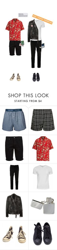 """""""my future was filled with you, now i'm running in circles"""" by beowulf ❤ liked on Polyvore featuring Calvin Klein, Schiesser, Topman, Gucci, Current/Elliott, French Connection, R13, Converse, ban.do and men's fashion"""