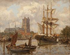Gerard Koekoeh /View-of-Dordrecht-from-the-water/