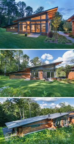 This modern guest house follows the same design of the main house, with a sloped roof, plenty of windows and wood shingles. Double doors open up to the backyard, while the garage is situated off to the side.