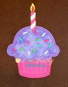Cupcake Sprinkle Candle Applique Design