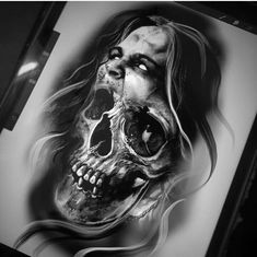 - You are in the right place about (notitle) Tattoo Design And Style Galleries On The Net – Are The - Evil Skull Tattoo, Skull Tattoo Flowers, Skull Rose Tattoos, Evil Tattoos, Skull Girl Tattoo, Skull Sleeve Tattoos, Creepy Tattoos, Skull Tattoo Design, Tattoo Design Drawings
