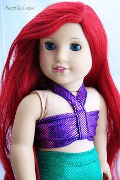Custom OOAK American Girl Doll Mermaid *Long Bright Red Hair, Blue Eyes ~Ariel #Dolls