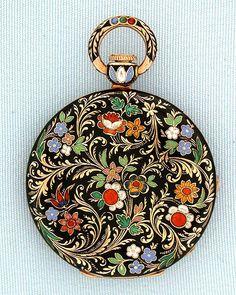 Swiss 18K gold and champlevee and cloisoinee enamel antique keywind ladies pendant watch by Aubert; Capt, Geneva, circa 1830.