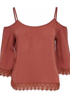 Only Trixie Cold Shoulder Cropped Sleeve Crochet Trim Top, Marsala | McElhinneys Department Store