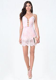 Bebe deep v lace dress