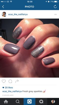 Grey and sparkly ✨ nails by me Caz X