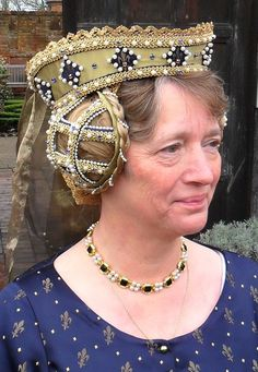 Gold Silk Tressour Crispinettes with Synthetic Pearls and blue and Amber Jewels with a Silk and Gold thread veil