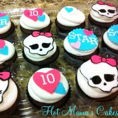 Monster High cupcakes made for my daughters class!  www.facebook.com/hotmamascakes