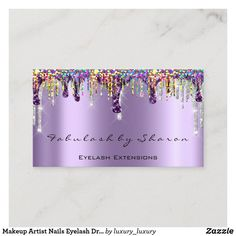 Beauty Business Cards, Makeup Artist Business Cards, Beauty Lash, Rose Gold Frame, Glitter Roses, Purple Makeup, Beauty Studio, Business Card Size, Christmas Card Holders