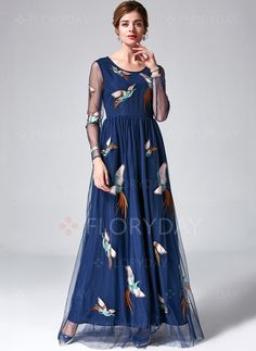 Dresses - $68.14 - Polyester Animal 3/4 Sleeves Maxi Casual Dresses (1955121352)