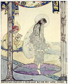 Jessie M King (1875-1949) - The Fisherman and His Soul : Her Feet were Naked.  from A House of Pomegranates by Oscar Wilde, 1915.