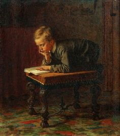 'Reading Boy' (1863) American painter (Maine) Eastman Johnson (1824–1906). After studying in Europe he returned to the United States and established himself as a painter of contemporary American subjects.