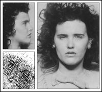 "Mug shots and fingerprint of Elizabeth Short, aka the ""Black Dahlia,"" who was brutally murdered in January The FBI provided Short's prints and mug shots from its files to the press after her murder. Grand Jury, Dahlia Noir, The Black Dahlia Murder, Secret Agent Party, James Ellroy, Murder Stories, Famous Murders, The Lovely Bones, Unusual Facts"