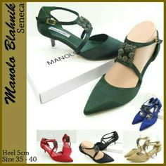 Sepatu Manolo Seneca Heels 4819 6cm Black 35 Gold 36 Green 35, 36 250rb
