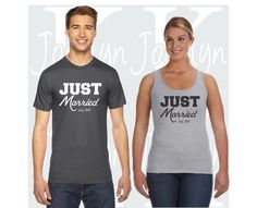 Hey, I found this really awesome Etsy listing at https://www.etsy.com/listing/385567280/just-married-matching-couples-t-shirt