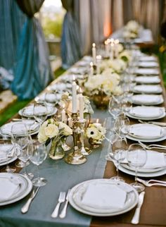Centerpieces: groupings of candlesticks and flowers with runner