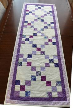 Quilted table runner using the Irish Chain pattern by StephsQuilts