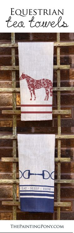 Horse lover tea towels - choose from cotton twill, muslin, or natural linen for your equestrian style tea towel or kitchen hand or dish towel. Beautiful and colorful pattern with horses and ponies on them.