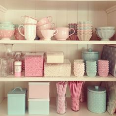 I like the idea of having a clear door cabinet filled with all pastel kitchen pieces and trinkets in the kitchen #DecorLove