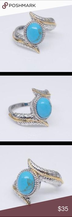 Genuine Turquoise Gold Plated Ring New! Genuine Turquoise 14K Gold Plated Jewelry Rings
