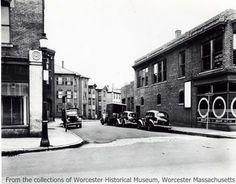 View of Harrison Street looking east from corner of Green Street, 1946, Worcester Massachusetts.