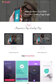 Angle is a powerful Responsive App Landing Page template. It is responsive and looks stunning on all types of screens and devices.