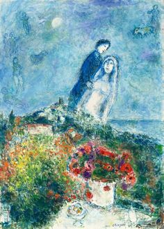 ✳ ・・・ ・・・ ・・・ Artwork Detail: Artist: Marc Chagall Title: Les fiancés aux anemones, 1979 Medium: oil and tempera on canvas Size: 36 x 25 x cm.) Markings: signed 'Marc Chagall ' on the lower right; Signed with brush in black on the reverse: Chagall Marc