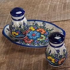 Polish Pottery Salt & Pepper Set in Holiday 2012 from Artisan Table on shop.CatalogSpree.com, my personal digital mall.