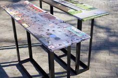 Foto-expositie van Marc Faasse in samenwerking met Amsterdam Stadsarchief op aluminium (HD Metal) tafelbladen.  #aluminium #tafelbladen #fotoprint #expositie #hdmetal #tafels #krasvast #amsterdam