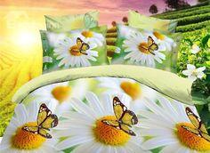 White Daisy and Yellow Butterfly Print 4-Piece Polyester Duvet Cover Sets