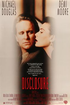 """Disclosure (1994) Vintage One-Sheet Movie Poster - 27""""x 40"""" This is a vintage one-sheet movie poster from 1994 for the film Disclosure starring Michael Douglas, Demi Moore, Donald Sutherland, Dennis Miller and Dylan Baker. Barry Levinson directed the film that was based on the bestselling novel by Michael Crichton.  The 22-year-old, """"teaser"""" movie poster measures 27""""x40"""" and is double-sided."""