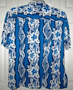 TIKI PALM Hawaiian Shirt Mens XL Short Sleeve Blue White Leis Surf Boards Rayon #TikiPalm #Hawaiian