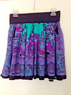 Body Central Skater Skirt-Paisly-Juniors Size L-Mint Green, Purple, Black #BodyCentral #SkaterMiniFull #juniors