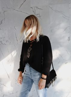 NILI LOTAN      lace-up sweater (similar here) CHLOÉ     small faye bag CÉLINE       knot bracelet (similar here or here)  CITIZENS OF HUMANITY      lira denim (or here) MADEWELL      leather sandals