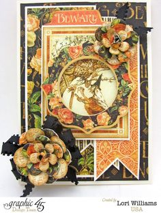 Graphic 45 An Eerie Tale Halloween Card by Lori Williams. Amazing card! #graphic45