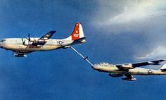 KC-97 refueling a B-47.  My dad worked on both of these while in the Air Force.  He said he used to stand over the boomer and watch them refuel the B-47.  Sounds scary to me, but he loved it!