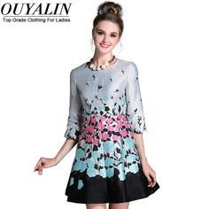 6900b85c35db L- 5XL Vintage Jacquard Flowers Autumn Dress Korean Style Slim Fit Flare  3 4 Sleeve Short Mini Big Size
