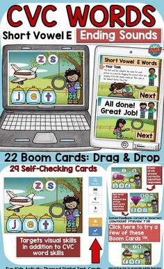 The kids-activity-themed digital Boom Cards will reinforce students' understanding and spelling of final consonants (ending sounds) of CVC Short Vowel E words. Phonemic Awareness Activities, E Words, Social Studies Resources, Teaching Phonics, English Reading, Short Vowels, Australian Curriculum, Fun Activities For Kids, Task Cards