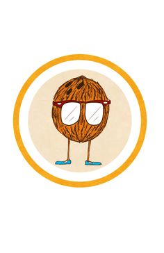 coconut logo   here I like circle and tan inside and coconut but not legs or glasses or whimsical