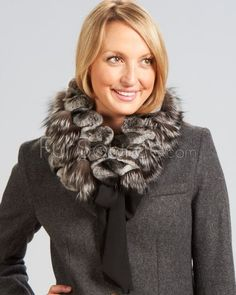 Silver Fox and Rex Rabbit Scarf - Natural : Fox Fur Scarves