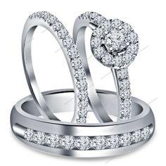 18Kt White Gold Finish 925 Silver Round Diamond 3PCS Wedding Trio Ring Set New #Bacio2jewel
