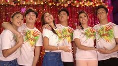 """This is James Reid, Nadine Lustre, Kathryn Bernardo, Daniel Padilla, Liza Soberano, and Enrique Gil smiling for the camera while singing """"Nana nanana nanana Thank you, thank you for the love"""" during the recording of the 2015 ABS-CBN Christmas Station ID theme song, """"Thank You for the Love!"""" Indeed, they're my favourite Kapamilya love teams, and LizQuen and KathNiel are amazing Star Magic talents. #KathNiel #KathNielBernaDilla #LizQuen #JaDine #ABSCBNChristmasStationID #ThankYoufortheLove"""