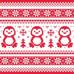 Christmas Winter Knitted Pattern with Penguins
