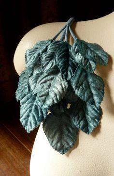 Velvet Leaves in Turquoise Teal for Bridal, Millinery, Costume Design, Crafts ML 5